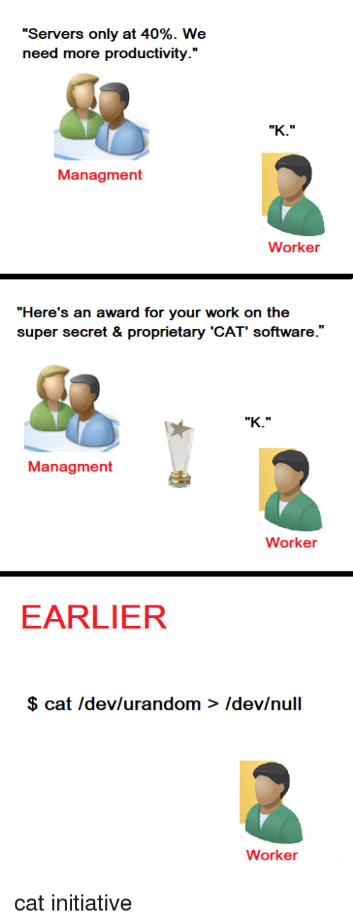 """Work, Null, and Software: """"Servers only at 40%. We  need more productivity.'""""  Managment  Worker  """"Here's an award for your work on the  super secret & proprietary 'CAT' software.'  Managment  Worker  EARLIER  $ cat Idev/urandom > Idev/null  Worker cat initiative"""