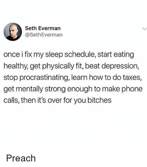 Memes, Phone, and Preach: Seth Everman  @SethEverman  once i fix my sleep schedule, start eating  healthy, get physically fit, beat depression,  stop procrastinating, learn how to do taxes,  get mentally strong enough to make phone  calls, then it's over for you bitches Preach