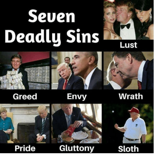 Memes, Sloth, and Greed: Seven  Deadly Sins Lust  Greed  Envy  Wrath  Pride  Gluttony  Sloth