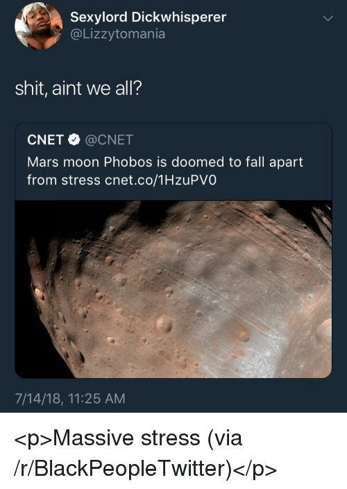 Blackpeopletwitter, Fall, and Shit: Sexylord Dickwhisperer  @Lizzytomania  shit, aint we all?  CNET @CNET  Mars moon Phobos is doomed to fall apart  from stress cnet.co/1HzuPVO  7/14/18, 11:25 AM <p>Massive stress (via /r/BlackPeopleTwitter)</p>