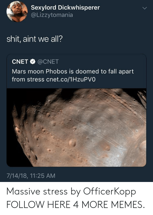 Dank, Fall, and Memes: Sexylord Dickwhisperer  @Lizzytomania  shit, aint we all?  CNET @CNET  Mars moon Phobos is doomed to fall apart  from stress cnet.co/1HzuPVO  7/14/18, 11:25 AM Massive stress by OfficerKopp FOLLOW HERE 4 MORE MEMES.