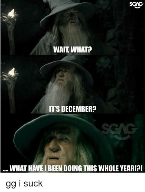 Gg, Memes, and Been: SGAG  WAIT, WHAT?  IT'S DECEMBER?  WHAT HAVE I BEEN DOING THIS WHOLE YEAR!! gg i suck