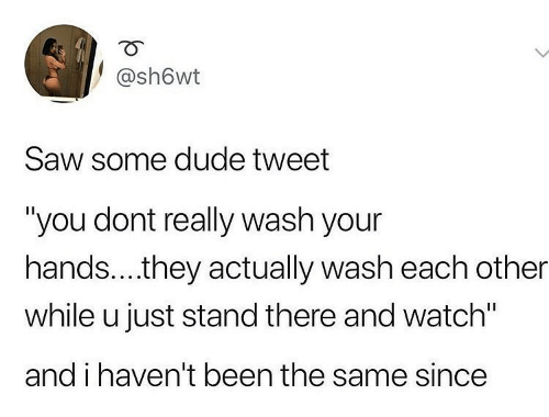 "Saw: @sh6wt  Saw some dude tweet  ""you dont really wash your  hands..they actually wash each other  while u just stand there and watch""  and i haven't been the same since"