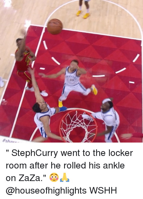 """Memes, Wshh, and 🤖: """" StephCurry went to the locker room after he rolled his ankle on ZaZa."""" 😳🙏 @houseofhighlights WSHH"""