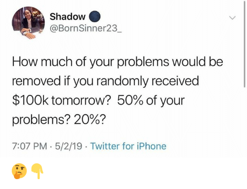 Iphone, Twitter, and Tomorrow: Shadow  @BornSinner23  How much of your problems would be  removed if you randomly received  $100k tomorrow? 50% of your  problems? 20%?  7:07 PM 5/2/19 Twitter for iPhone 🤔👇