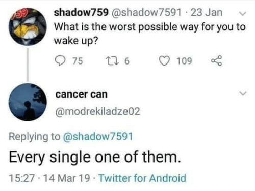 Android, The Worst, and Twitter: shadow759 @shadow7591 23 Jan  What is the worst possible way for you to  wake up?  cancer can  @modrekiladze02  Replying to @shadow7591  Every single one of them.  15:27 14 Mar 19 Twitter for Android