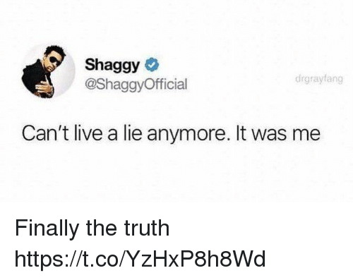 Funny, Live, and Truth: Shaggy  @ShaggyOfficial  drgraytang  Can't live a lie anymore. It was me Finally the truth https://t.co/YzHxP8h8Wd
