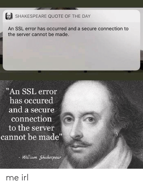 """Shakespeare, Irl, and Me IRL: SHAKESPEARE QUOTE OF THE DAY  An SSL error has occurred and a secure connection to  the server cannot be made.  """"An SSL error  has occured  and a secure  connection  to the server  cannot be made""""  William Shakespear me irl"""
