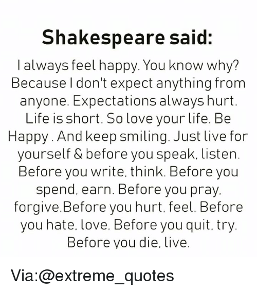 Shakespeare Said I Always Feel Happy You Know Why Because L Don T