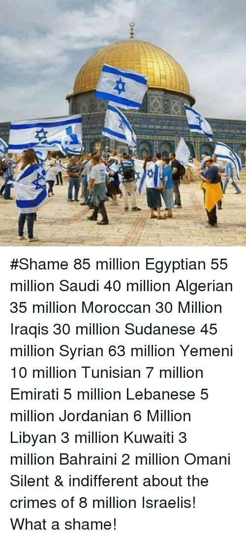 Memes, Lebanese, and Egyptian: #Shame 85 million Egyptian 55 million Saudi 40 million Algerian 35 million Moroccan 30 Million Iraqis 30 million Sudanese 45 million Syrian 63 million Yemeni 10 million Tunisian 7 million Emirati 5 million Lebanese 5 million Jordanian 6 Million Libyan 3 million Kuwaiti 3 million Bahraini 2 million Omani Silent & indifferent about the crimes of 8 million Israelis! What a shame!