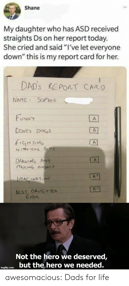 "report card: Shane  My daughter who has ASD received  straights Ds on her report today.  She cried and said ""I've let everyone  down"" this is my report card for her.  DAD's REPORT CARD  SOP  NAME  FUNNY  A  Eoves DOGS  A  WITH THE 6 45  DAAWING ANo  CAICING Aoor  A1  JnAGINATN  A  BCST DAJGHE  Even  Not the hero we deserved,  but the hero we needed.  imgflip.com awesomacious:  Dads for life"