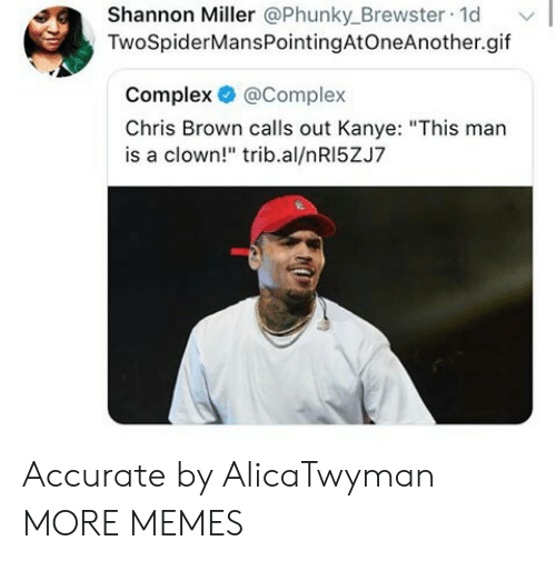 "Chris Brown, Complex, and Dank: Shannon Miller @Phunky_Brewster 1d  TwoSpiderMansPointingAtOneAnother.gif  Complex @Complex  Chris Brown calls out Kanye: ""This man  is a clown!"" trib.al/nRI5ZJ7 Accurate by AlicaTwyman MORE MEMES"
