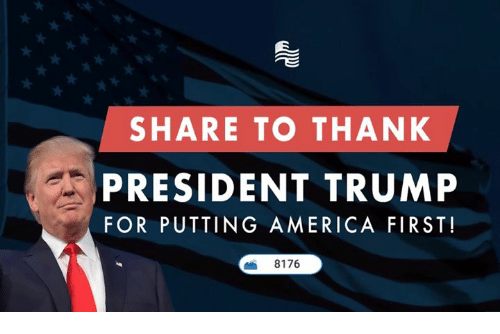 America, Trump, and Conservative: SHARE TO THANK  PRESIDENT TRUMP  FOR PUTTING AMERICA FIRST!  8176