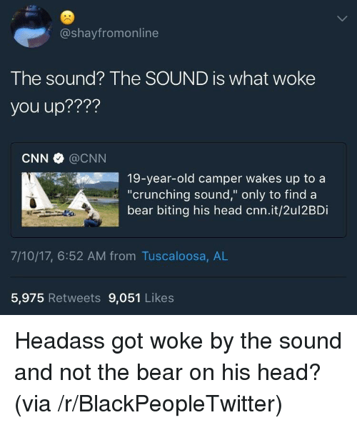 "Crunching: @shayfromonline  The sound? The SOUND is what woke  you up????  CNN @CNN  19-year-old camper wakes up to a  ""crunching sound,"" only to find a  bear biting his head cnn.it/2ul2BDi  7/10/17, 6:52 AM from Tuscaloosa, AL  5,975 Retweets 9,051 Likes <p>Headass got woke by the sound and not the bear on his head? (via /r/BlackPeopleTwitter)</p>"