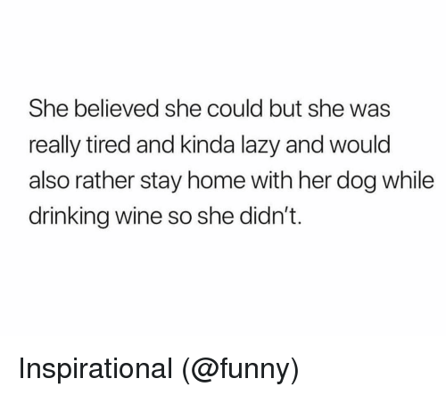 Drinking, Funny, and Lazy: She believed she could but she was  really tired and kinda lazy and would  also rather stay home with her dog while  drinking wine so she didn't. Inspirational (@funny)