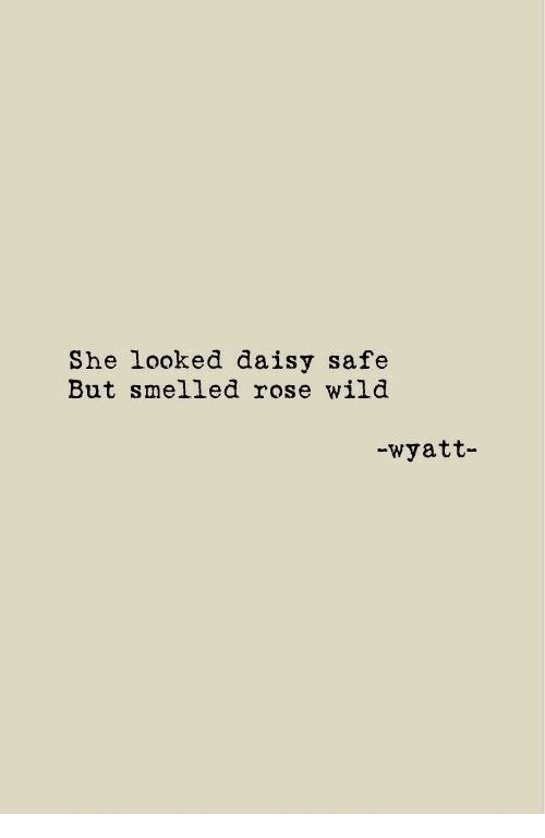 Rose, Wild, and Daisy: She looked daisy safe  But smelled rose wild  -wyatt-