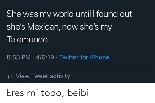 Iphone, Twitter, and World: She was my world until I found out  she's Mexican, now she's my  Telemundo  8:53 PM 4/6/19 Twitter for iPhone  iView Tweet activity Eres mi todo, beibi