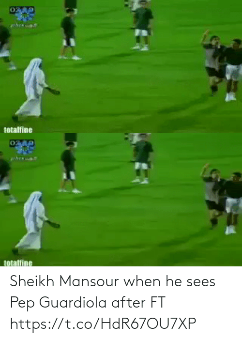 When He: Sheikh Mansour when he sees Pep Guardiola after FT  https://t.co/HdR67OU7XP