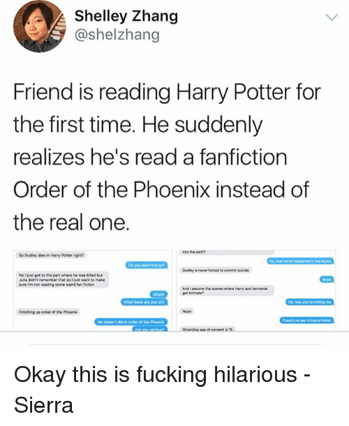 Shelley Zhang Friend Is Reading Harry Potter for the First Time He