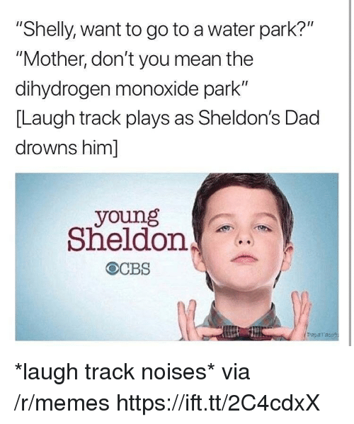 """Dad, Memes, and Mean: """"Shelly, want to go to a water park?""""  """"Mother, don't you mean the  dihydrogen monoxide park""""  [Laugh track plays as Sheldon's Dad  drowns him]  young  Sheldon  Paparaco *laugh track noises* via /r/memes https://ift.tt/2C4cdxX"""