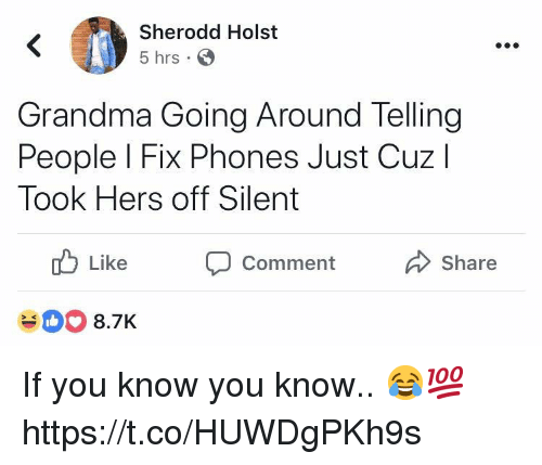 Grandma, You, and Comment: Sherodd Holst  5 hrs S  Grandma Going Around Telling  People l Fix Phones Just Cuzl  Took Hers off Silent  Like  D  Comment  Share  #00 8.7K If you know you know.. 😂💯 https://t.co/HUWDgPKh9s