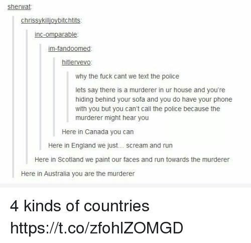 England, Memes, and Phone: sherwat  chrissykillioybitchtits  inc-omparable  im-fandoomed  hitlervevo  why the fuck cant we text the police  lets say there is a murderer in ur house and you're  hiding behind your sofa and you do have your phone  with you but you can't call the police because the  murderer might hear you  Here in Canada you can  Here in England we just.. scream and run  Here in Scotland we paint our faces and run towards the murderer  Here in Australia you are the murderer 4 kinds of countries https://t.co/zfohlZOMGD
