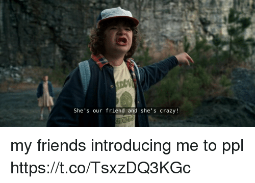 Crazy, Friends, and Girl Memes: She's our friend and she's crazy! my friends introducing me to ppl https://t.co/TsxzDQ3KGc