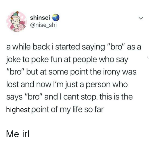 """poke: shinse  @nise_shi  a while back i started saying """"bro"""" as a  joke to poke fun at people who say  """"bro"""" but at some point the irony was  lost and now I'm just a person who  says """"bro"""" and I cant stop. this is the  highest point of my life so far Me irl"""