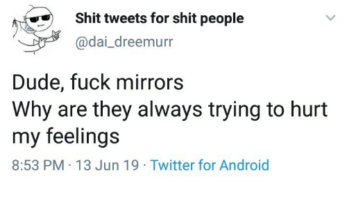 mirrors: Shit tweets for shit people  @dai_dreemurr  Dude, fuck mirrors  Why are they always trying to hurt  my feelings  8:53 PM 13 Jun 19 Twitter for Android