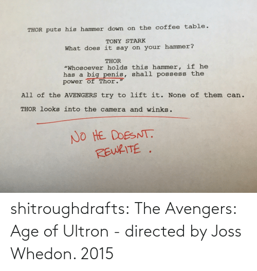 Whedon: shitroughdrafts:  The Avengers: Age of Ultron - directed by Joss Whedon. 2015