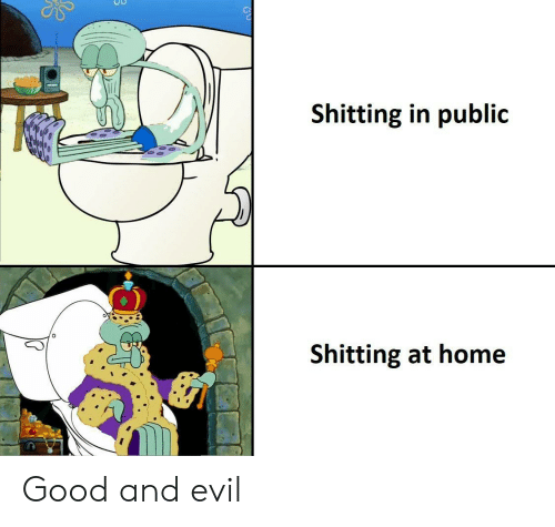 Good, Home, and Evil: Shitting in public  Shitting at home Good and evil