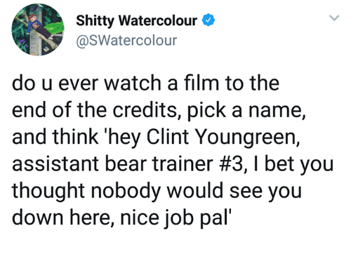 Dank, I Bet, and Bear: Shitty Watercolour  @SWatercolour  do u ever watch a film to the  end of the credits, pick a name,  and think 'hey Clint Youngreen,  assistant bear trainer #3, I bet you  thought nobody would see you  down here, nice job pal