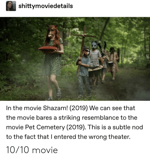 Shazam, Movie, and Can: shittymoviedetails  In the movie Shazam! (2019) We can see that  the movie bares a striking resemblance to the  movie Pet Cemetery (2019). This is a subtle nod  to the fact that I entered the wrong theater. 10/10 movie
