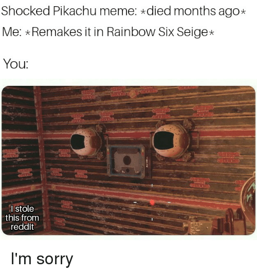 Meme, Pikachu, and Reddit: Shocked Pikachu meme: died months ago*  Me: Remakes it in Rainbow Six Seige*  You  I stole  this from  reddit