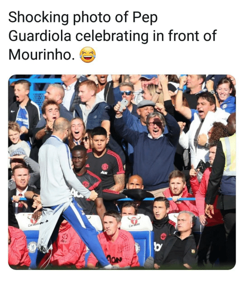 Memes, 🤖, and Pep Guardiola: Shocking photo of Pep  Guardiola celebrating in front of  Mourinho. es
