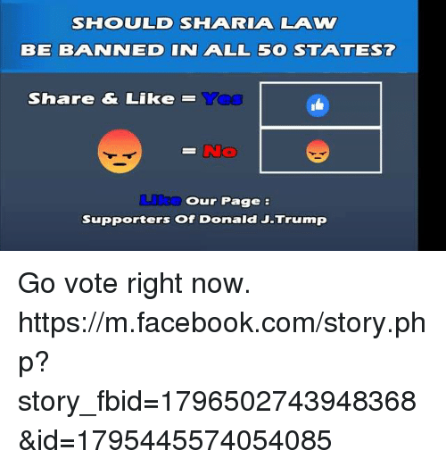 Memes, m.facebook, and m.facebook.com: SHOOULD SHAA RIAA LAW  BE BAANINEID IN AALL 5 STAA TEST  Share & Like  Our Page  Supporters of Donald J-Trump Go vote right now. https://m.facebook.com/story.php?story_fbid=1796502743948368&id=1795445574054085