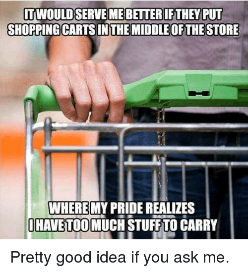 Dank, Shopping, and Too Much: SHOPPING CARTS IN THE MIDDLE OF THE STORE  WHERE  HAVE TOO MUCH STUFF TO CARRY  MY PRIDE REALIZES Pretty good idea if you ask me.