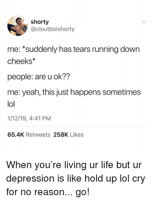 Life, Lol, and Yeah: shorty  @cloutboishorty  me: *suddenly has tears running down  cheeks  people: are u ok??  me: yeah, this just happens sometimes  lol  1/12/19, 4:41 PM  65.4K Retweets 258K Likes When you're living ur life but ur depression is like hold up lol cry for no reason... go!