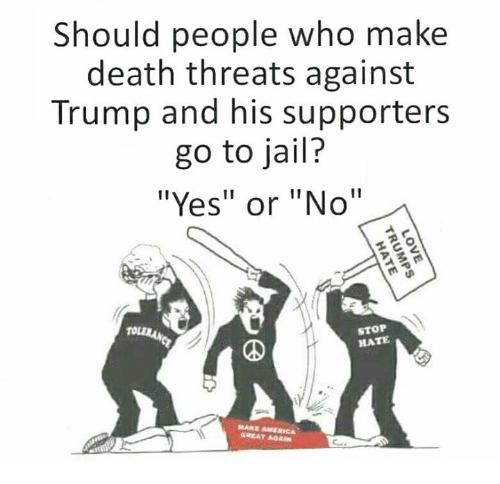 """death threats: Should people who make  death threats against  Trump and his supporters  go to jail?  """"Yes"""" or """"No""""  STOP  HATE  GREAT AGA"""