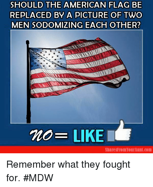 Dank, American, and American Flag: SHOULD THE AMERICAN FLAG BE  REPLACED BY A PICTURE OF TWO  MEN SODOMIZING EACH OTHER?  no- LIKE I  Shares From YourAunt com Remember what they fought for. #MDW