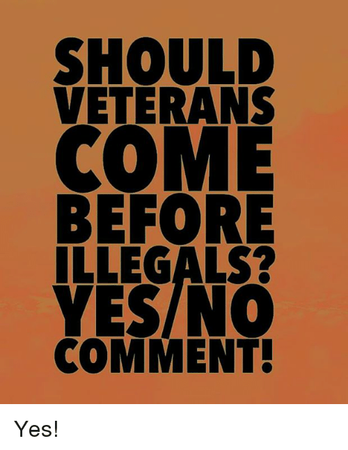 Memes, 🤖, and Yes: SHOULD  VETERANS  COME  BEFORE  ILLEGALS?  YESINC  COMMENT Yes!