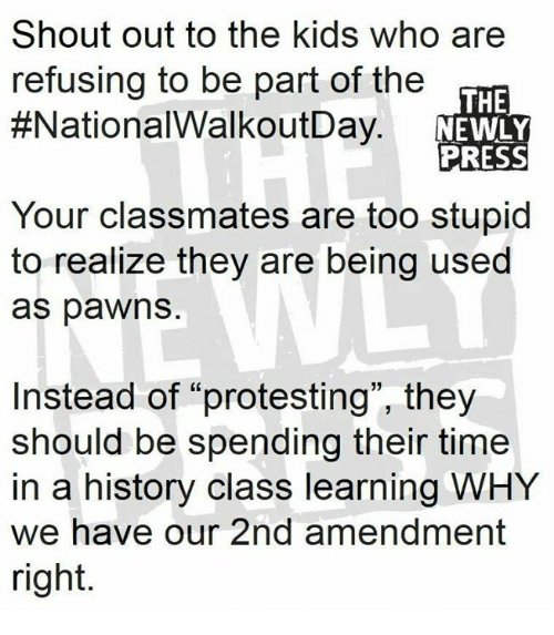 """Memes, History, and Kids: Shout out to the kids who are  refusing to be part of the  #NationalWalkoutDay  THE  NEWLY  PRESS  Your classmates are too stupid  to realize they are being used  as pawns  Instead of """"protesting"""", they  should be spending their time  in a history class learning WHY  we have our 2nd amendment  right."""
