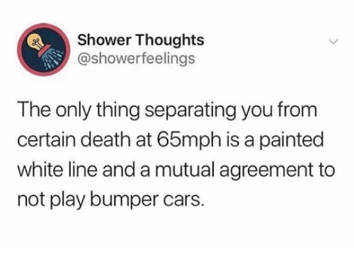 cars: Shower Thoughts  @showerfeelings  The only thing separating you from  certain death at 65mph is a painted  white line and a mutual agreement to  not play bumper cars.