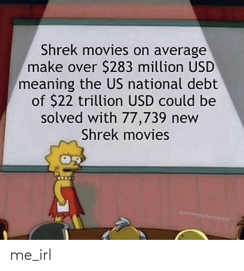 Movies, Shrek, and Meaning: Shrek movies on average  make over $283 million USD  meaning the US national debt  of $22 trillion USD could be  solved with 77,739 new  Shrek movies  @memephucker696969 me_irl