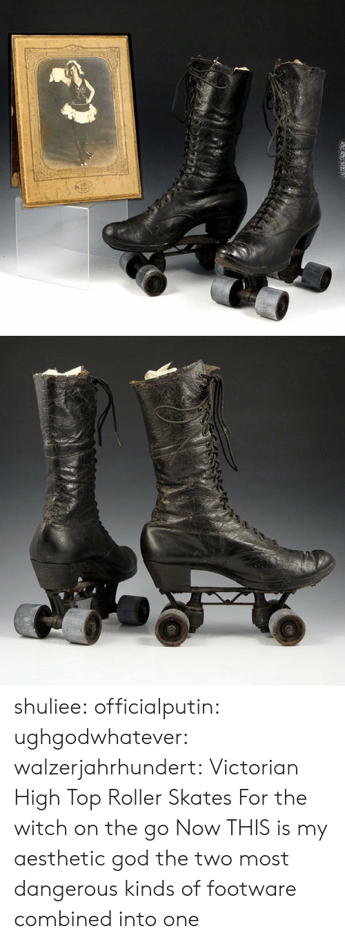Skates: shuliee:  officialputin:  ughgodwhatever:   walzerjahrhundert: Victorian High Top Roller Skates  For the witch on the go   Now THIS is my aesthetic  god the two most dangerous kinds of footware combined into one