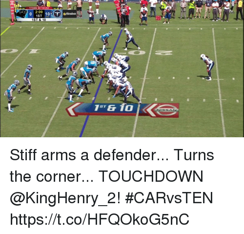 Memes, 🤖, and Arms: SHUSTITANS NETWORK4  0 2:09  1ST 10  1ST&10  120  ST 10 Stiff arms a defender... Turns the corner...  TOUCHDOWN @KingHenry_2! #CARvsTEN https://t.co/HFQOkoG5nC