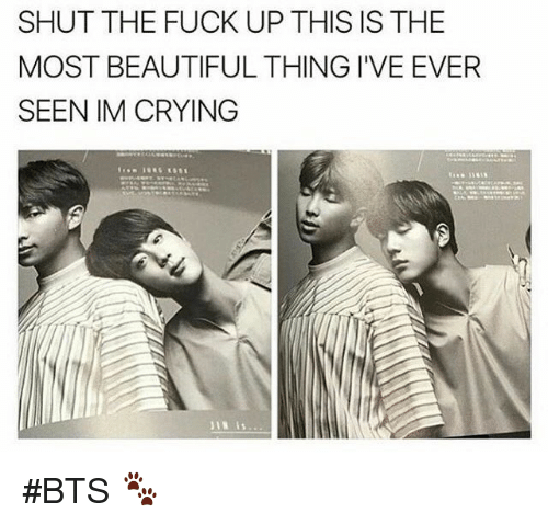 Beautiful, Crying, and Fuck: SHUT THE FUCK UP THIS IS THE  MOST BEAUTIFUL THING I'VE EVER  SEEN IM CRYING #BTS 🐾