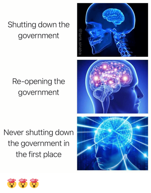Funny, Government, and Never: Shutting down the  government  Re-opening the  government  Never shutting down  the government in  the first place 🤯🤯🤯