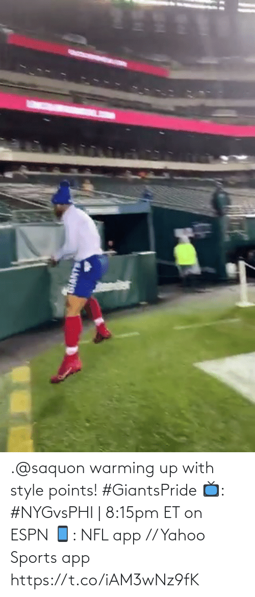Warming: SIANTS .@saquon warming up with style points! #GiantsPride  📺: #NYGvsPHI | 8:15pm ET on ESPN 📱: NFL app // Yahoo Sports app https://t.co/iAM3wNz9fK