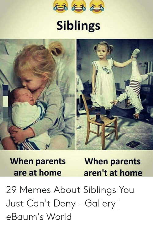 Sibling Memes: Siblings  When parents  When parents  aren't at home  are at home 29 Memes About Siblings You Just Can't Deny - Gallery | eBaum's World
